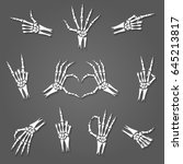 skeleton hand signs isolated on ... | Shutterstock .eps vector #645213817