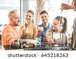 group of friends drinking... | Shutterstock . vector #645218263