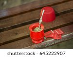 red mate on the park bench   Shutterstock . vector #645222907