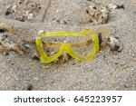 diving mask broken in the sand   Shutterstock . vector #645223957