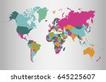world map countries vector on... | Shutterstock .eps vector #645225607