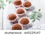 homemade chocolate truffles... | Shutterstock . vector #645229147