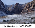 snow in the desert   red rock... | Shutterstock . vector #645230827