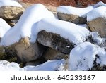 snow in the desert   red rock... | Shutterstock . vector #645233167