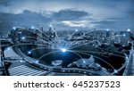 network business connection... | Shutterstock . vector #645237523