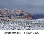 snow in the desert   red rock... | Shutterstock . vector #645240523