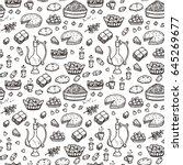 arabic food vector background.... | Shutterstock .eps vector #645269677