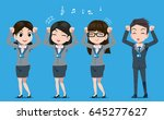 happy employees. hello working... | Shutterstock .eps vector #645277627
