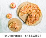 apple rose pie tart against... | Shutterstock . vector #645313537