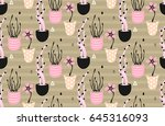 floral seamless pattern. hand... | Shutterstock .eps vector #645316093