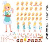 vector chef girl character for... | Shutterstock .eps vector #645346903