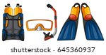 scuba diving equipments in... | Shutterstock .eps vector #645360937