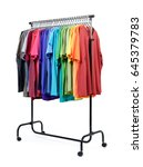 mobile rack with color clothes... | Shutterstock . vector #645379783