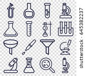 laboratory icons set. set of 16 ... | Shutterstock .eps vector #645382237