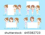 beauty cartoon women take... | Shutterstock .eps vector #645382723