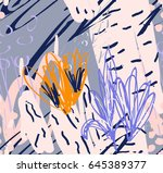 doodles rough drawn with dots... | Shutterstock .eps vector #645389377