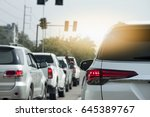 cars on the road heading... | Shutterstock . vector #645389767