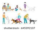 dog walking set. | Shutterstock .eps vector #645392137