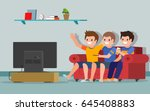 people watching tv. soccer or... | Shutterstock .eps vector #645408883