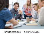 group of young business people... | Shutterstock . vector #645409603
