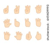 hand gestures and sign number... | Shutterstock .eps vector #645409993