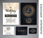 wedding invitation collection.... | Shutterstock .eps vector #645414313