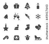vector black christmas icons... | Shutterstock .eps vector #645417643