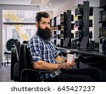 a stylish bearded hipster male... | Shutterstock . vector #645427237