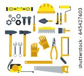 construction tools set.... | Shutterstock .eps vector #645427603
