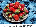 fresh ripe useful fruit... | Shutterstock . vector #645427783