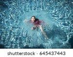 happy children kid at swimming... | Shutterstock . vector #645437443