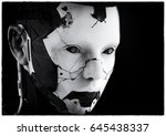 the head of a cyborg on a black ... | Shutterstock . vector #645438337