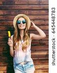 cool hipster student woman... | Shutterstock . vector #645448783