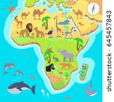 africa mainland cartoon map... | Shutterstock . vector #645457843