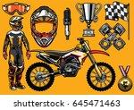 set of high detailed motocross... | Shutterstock .eps vector #645471463