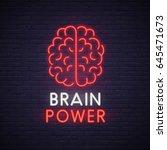 brain neon sign. neon sign ... | Shutterstock .eps vector #645471673