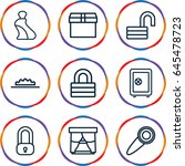 closed icons set. set of 9... | Shutterstock .eps vector #645478723