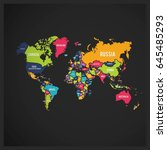 multi colored world map with... | Shutterstock .eps vector #645485293