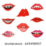set of hand drawn pop art... | Shutterstock . vector #645498907
