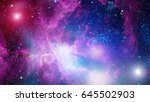 nebula and galaxies in space.... | Shutterstock . vector #645502903