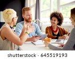 multi ethnic group having a... | Shutterstock . vector #645519193