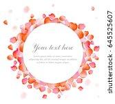 frame made of rose petals on... | Shutterstock .eps vector #645525607