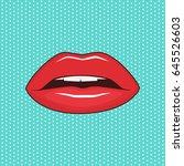 female lips on turquoise... | Shutterstock .eps vector #645526603
