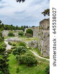 medieval walls of rhodes and... | Shutterstock . vector #645538027