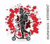 hipster man riding kick scooter ...   Shutterstock .eps vector #645548047