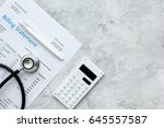 stethoscope  billing statement...   Shutterstock . vector #645557587