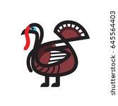 turkey sketch vector icon for... | Shutterstock .eps vector #645564403