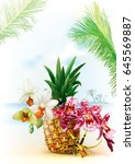 summer tropical background with ... | Shutterstock .eps vector #645569887