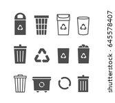 garbage bin icon set  recycle... | Shutterstock .eps vector #645578407