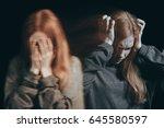 woman feeling emotional pain ...   Shutterstock . vector #645580597